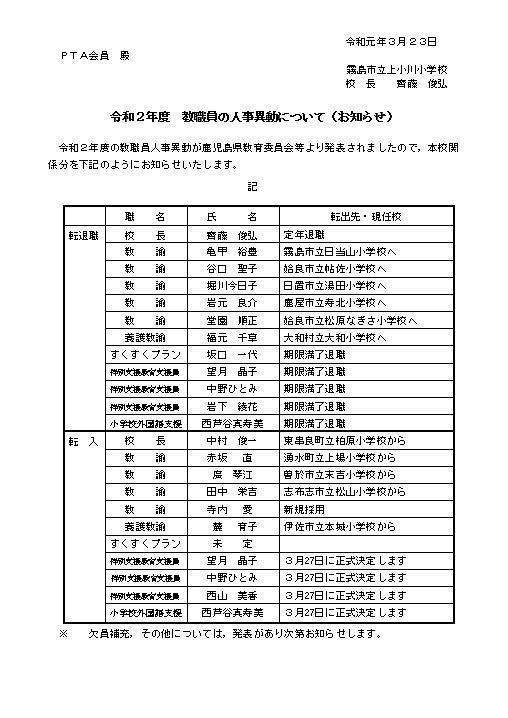 鹿児島 教職員 人事 異動 2020