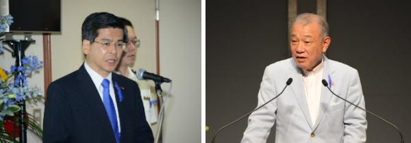 挨拶する石井国交大臣と笹川会長