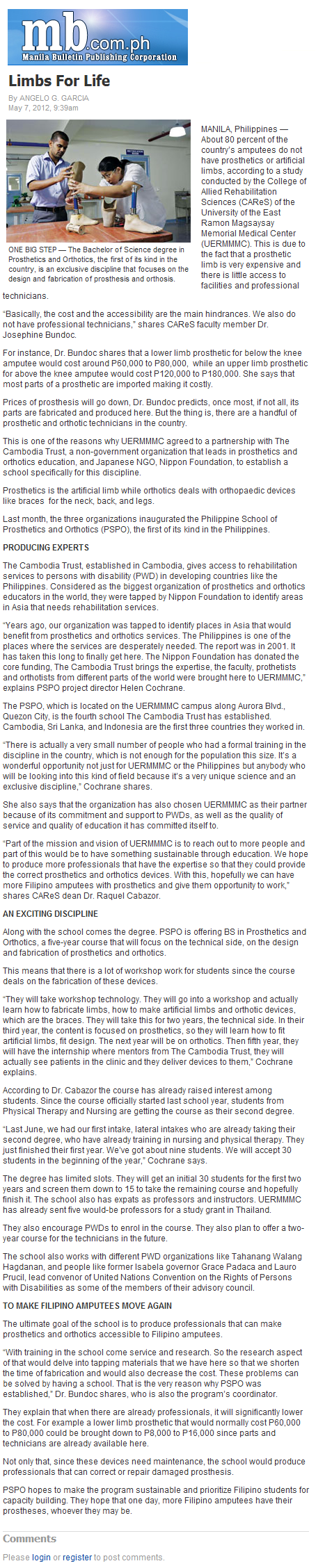 Limbs For Life - The Manila Bulletin Newspaper Online.png