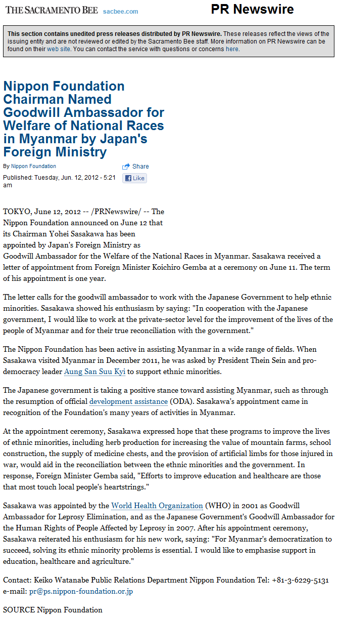 Nippon Foundation Chairman Named Goodwill Ambassador for Welfare of National Races in Myanmar by Japan's Foreign Ministry - PR Newswire - The Sacramento Bee.png