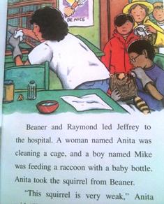 絵本本文ページ:病院内でアライグマに哺乳瓶でミルクを与えるめがねの少年と、白衣の女性と少年少女3人の絵