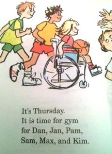 絵本の本文ページ。3人の子ども。車いすの女の子がボールを持っている絵。