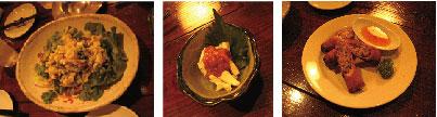写真:お通しのサラダ・酒盗チーズ・たけのことチーズ入り揚げ春巻