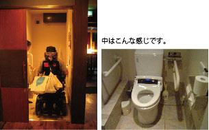 写真:右 鴨治さんトイレへ入る 左 だれでもトイレの中の様子